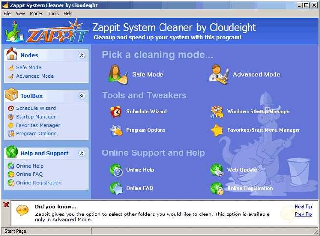 I MIGLIORI PROGRAMMI PER PULIZIA PC : ZAPPIT SYSTEM CLEANER